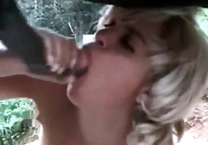 Cock of a mare is getting sucked by a nice blonde